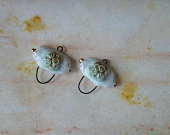 Ceramic connector -pendant .Ceramic handmade
