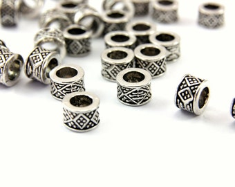 25 pcs Rondell Spacer Beads, (8mm x 5mm) Rondelle Beads, Antique Silver Colour Spacers, Metal Rondelle Spacer Beads / MB-046