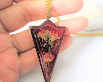 Deep Burgundy Pressed Flower Pendant, Real Flowers,Pressed Flower Jewelry, Resin (3111))
