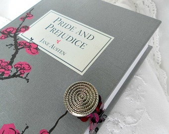 Pride and Prejudice by Jane Austen Book Clutch Purse - Rose Pink, Dove Grey and Black cover print
