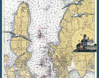 Newport, Rhode Island - Nautical Chart - Lantern Press Artwork (Art Print - Multiple Sizes Available)