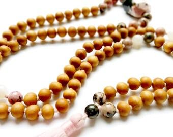 Sacred Calling Mala, Maternity Mala Beads, Motherhood Jewelry, Natural Black Line Rhodonite, Moonstone, Protection,  Feminine Energy, Luck