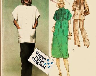 70's Vogue Paris Original Pattern 1586 Boho Pin-Tuck Tunic & Wide Pants Givenchy Sz 12 Uncut FF w LaBeL Designer Couture Sewing Patterns