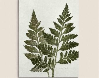 Green Fern Art 5 x 7 Print, Vintage Style Natural Wall Decor, Earthy Colors, Botanical Leaf Print
