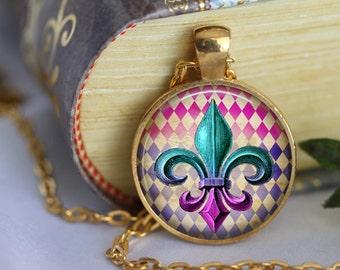 Fleur de Lys Pendant Necklace Lotus Fleur de Lis Jewerly Glass Pendant Handmade Necklace Flower of the Lily