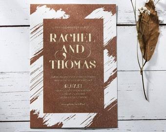 Rustic Foil Wedding Invitation, Thick Brush Stroke Design - IWF16091-TR-GG