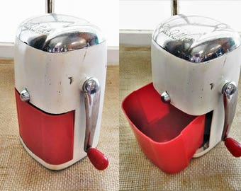 Vintage 1950s Ice-O-Mat Ice Crusher Red and White Vogue Model
