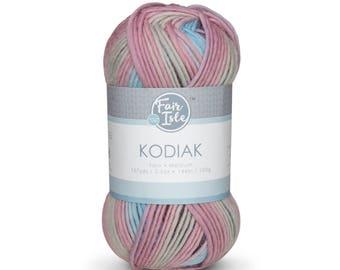 Fair Isle Kodiak Medium-Weight Single Ply Yarn, 100% Superwash Wool, Space Dye Modern Color Yarn