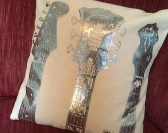 final few Silver Guitars Pillow - Decorative Pillow Case - Screenprint Pillow cover - Pearl
