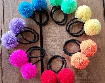 pompom hair ties, pompom hair elastics, pompom bobbles, pompom ponytailer, festival hair ties, gift for her, boho hair ties, back to school