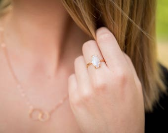 Moonstone Thick Marquise Alternative Engagement Wedding Prong Setting Ring - ONE RING (Rose Gold Sterling Silver Bridal Party)