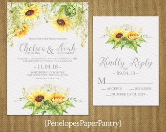 Elegant Sunflower Wedding InvitationSunflowerSilver PrintPattern BackgroundSimpleRomantic
