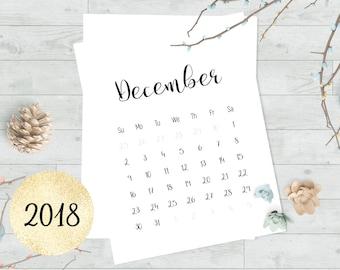Printable calendar 2018, Calendar printable, Wall calender, Printable monthly calendar, Printable calendar months, Minimalist calendar pages