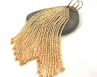 Long Beaded Fringe Earrings . Golden Seed Bead Fringe Earrings . Long Shoulder Duster Earrings . Boho Chic Jewelry