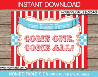 """Circus Party Backdrop or Sign - """"Come One, Come All"""" - Carnival Party - INSTANT DOWNLOAD - Printable PDF file - 36x48 inches and A0 sizes"""
