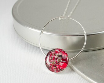 Circuit Board Necklace Red, Sterling Silver Jewelry, Colorful Necklace, Wearable Technology, Artisan Silver Necklace, Engineer Gift, Geekery
