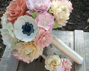Handmade Paper Bouquet - Paper Flower Bouquet - Wedding Bouquet - Country Chic - Custom Made - Any Color