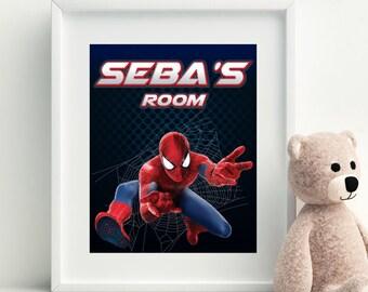 Spiderman Printable, Spiderman Wall Art, Customizable Wall Art, Custom Spiderman Decor, Spiderman Nursery Decor, Spiderman Room Printable