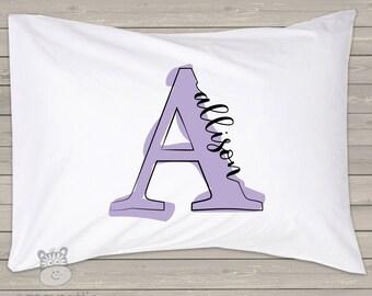 Monogrammed painted letter personalized pillowcase / pillow - custom monogram pillowcase great birthday gift PIL-041-STD