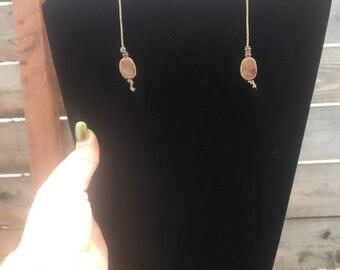 Long Hemp Copper Earrings/ copper/ hemp/ cute gift/ gift
