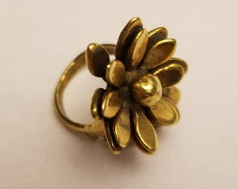 vintage flower copper ring