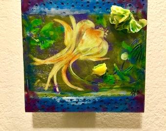 Encaustic Yellow Flowers Art Painting