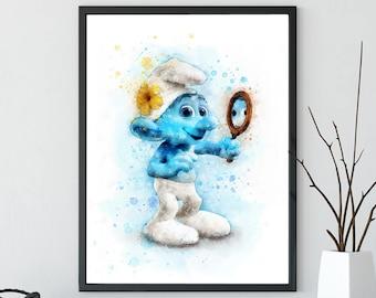 The Smurfs Print, Vanity print, Nursery Decor, instant download, Watercolor Smurf, The Smurfs Kids Room Wall Art, Smurfs Printable