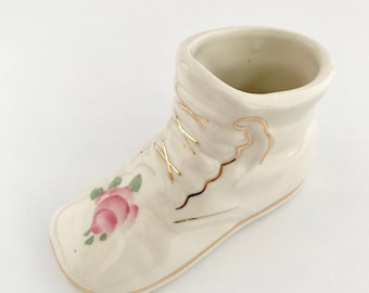Ceramic Baby Shoe Planter - Vintage Nursery Decoration - Baby Shower Gift - Vase for Baby's Room