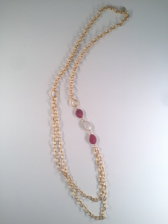 """Ruby Gold Necklace with Moonstone, Gold Texture Circle Connectors, Layer Necklace, Long Necklace, 22K Gold Plated, 38"""" Total Length"""