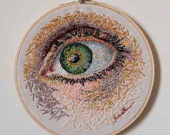 "Contemporary Embroidered Art, Hand Embroidery Wall Hanging, Eye Art, Hand Stitched, Modern Fiber Art - ""Eyembroidery II"""