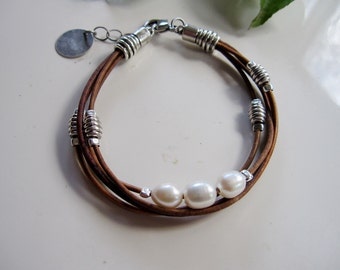 Leather Bracelet, Brown Leather, Natural Leather, Large Pearls, Bohemian, Silver Disc, Three Strands, Redpeonycreations