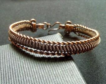 Copper braided bracelet