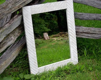 White wash reclaimed wood mirror