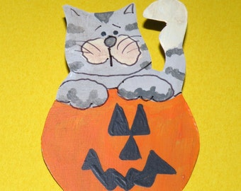 Halloween Pumpkin and Cat Brooch Signed by Artist