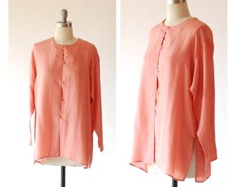 vintage watermelon pink silk blouse / size medium large