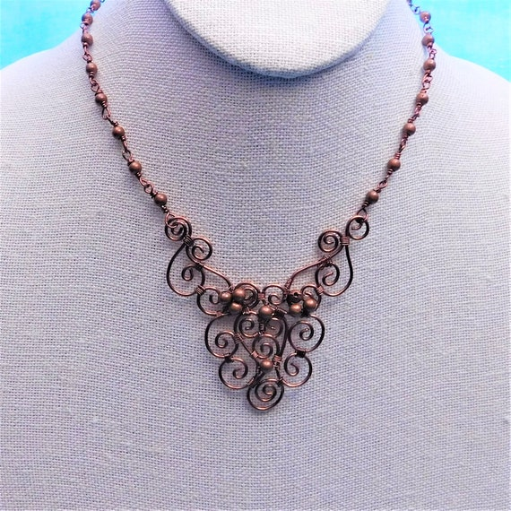 7th Anniversary Gift Artisan Crafted Copper Statement Necklace Unique Wire Wrapped Handmade Jewelry Artistic Handcrafted Wife Present Ideas