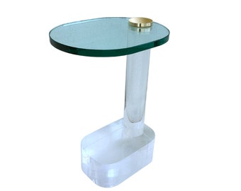 Vintage Thick Lucite Side Table Mid Century Modern