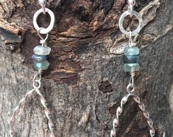Mystic Blue Fluorite Sterling Earrings