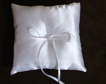 custom made white satin ring bearer pillow