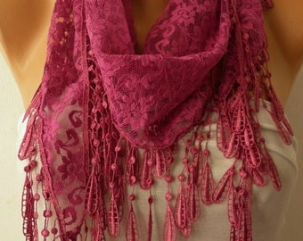 Fuchsia Lace Scarf,Spring Summer Fashion Scarf, Shawl, Cowl Scarf, Bridesmaid Gift,Gift Ideas For Her, Women's Fashion Accessories