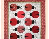 Lily's Ladybugs – Ladybug Quilt Pattern – Machine Applique Quilt Pattern