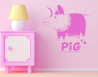 pig wall decal pig decor for home pig decor pig wall art pig wall sticker  (Z668)