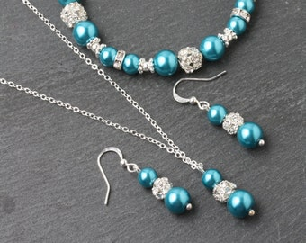 Teal wedding jewelry set, teal earrings and necklace set, teal wedding jewelry, teal bridesmaid gift, teal pearl jewelry, something blue