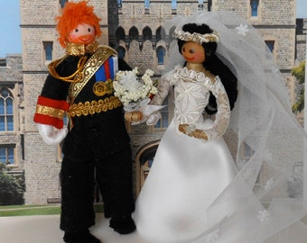 Harry & Meghan Bride and Groom Dolls, Prince Harry + Meghan, Wedding Cake Topper, Posable, Handmade Dolls, Dollhouse 1/12th Scale OOAK