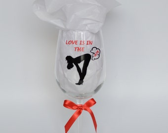 "Funny ""Love is in the Air"" wine glass/ valentine wine glass"