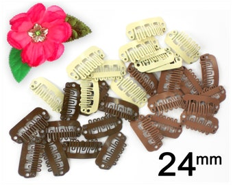 15 Baby Bow Clips in 3 Colors, Tiny NoSlip Clips - 23mm Snap Clip, 24mm Bulk Weft Clips, Non Slip Hair Clip - Baby Hair Clips
