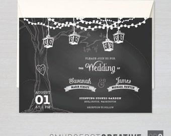 Chalkboard Backyard Wedding - Customizable Save-the-Date, Shower, Wedding, or Event Invitation