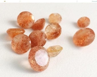 65% Sale 2 Pieces, 11mm, Sunstone Round Solitaire Cut, Sunstone Faceted Gemstones,  Sunstone Solitaire Cut, Loose Gemstones, Sunstone