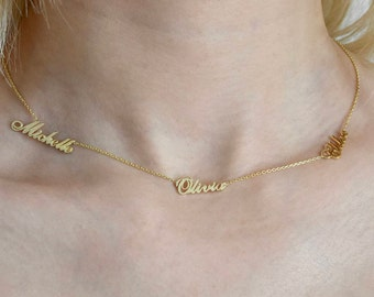 Three Name Necklace - Personalized Necklace - Name Necklace - Custom Name Necklace - Tiny Name Jewelry - Family Necklace - Mothers Day Gift