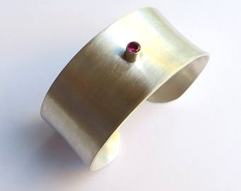 Silver Ruby Cuff-elegant but sturdy - Hand Crafted silversmith great gift for Her July birthstone